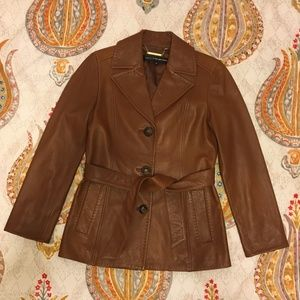 Collection Ellen Tracy Tan Leather Jacket